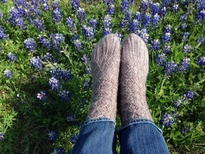 Handknit Socks in Bluebonnets