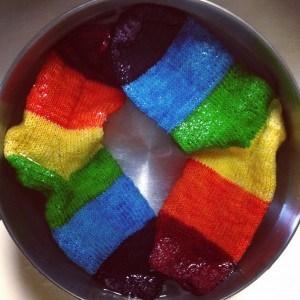 Rainbow Socks for my Smallest knitting fan