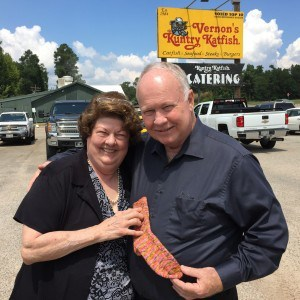 My parents with a sock at Kountry Katfish!
